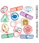 finance stamps icon collection  ... | Shutterstock .eps vector #96011801