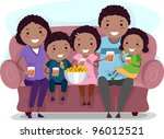 Illustration of a Family Watching a Television Show Together - stock vector