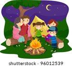 Illustration of a Family Gathered Around a Bonfire - stock vector