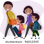 Illustration of a Family on a Trip - stock vector
