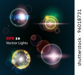 lens flares set. use this lens... | Shutterstock .eps vector #96018731