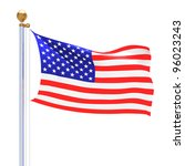 isolated usa waving silk flag | Shutterstock . vector #96023243