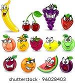 cartoon orange  banana  apples  ... | Shutterstock .eps vector #96028403