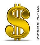 Gold Dollar Sign. 3d Image....