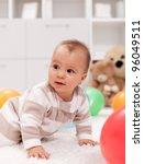 baby girl with balloons  ...   Shutterstock . vector #96049511