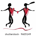 stylized silhouette of couple... | Shutterstock .eps vector #9605149