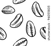 Doodle style seamless coffee bean background. File will tile easily and is vector for scaling and editing. - stock vector