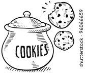 Doodle style cookie and cookie jar illustration in vector format - stock vector