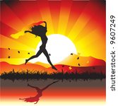 girl runs on meadow with... | Shutterstock .eps vector #9607249