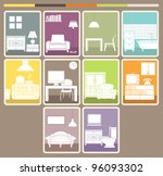 room interior and objects set.... | Shutterstock .eps vector #96093302