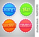 colorful round labels or... | Shutterstock .eps vector #96093590