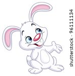 happy bunny presenting with his ... | Shutterstock .eps vector #96111134