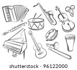 musical instruments set of... | Shutterstock .eps vector #96122000