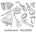 musical instruments set of... | Shutterstock .eps vector #96122000