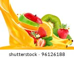 fruit mix isolated on white... | Shutterstock . vector #96126188