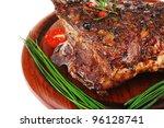 ribs on wooden plate over white ... | Shutterstock . vector #96128741