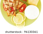 french cheeses and salmon with... | Shutterstock . vector #96130361