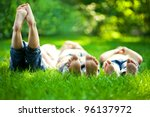 group of happy children lying... | Shutterstock . vector #96137972