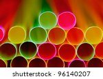Drinking straw closeup. Abstract background. - stock photo