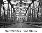 road through metal bridge tunnel | Shutterstock . vector #96150386