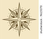 vector oldstyle wind rose... | Shutterstock .eps vector #9615370