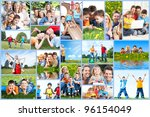 happy family collage background.... | Shutterstock . vector #96154049