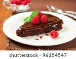 Slice Of Chocolate Cake With...