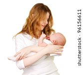 Newborn baby with mother - stock photo