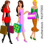 shopping women | Shutterstock .eps vector #96197003