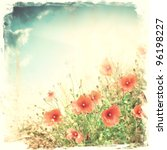Red Poppy Flowers   Vintage...
