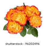 Orange rose bouquet. Isolated on white backgournd - stock photo