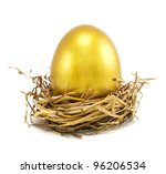Golden Eggs In Nest Isolated O...