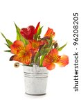 Red Flowers Of Alstroemeria In...