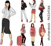 fashion girl set | Shutterstock .eps vector #96214166