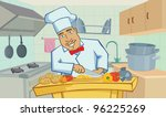 cheerful chef cooks in the...   Shutterstock .eps vector #96225269