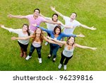 group of people with open arms...   Shutterstock . vector #96239816