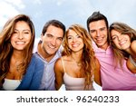 happy group of friends in a... | Shutterstock . vector #96240233