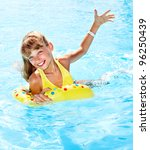 child sitting on inflatable... | Shutterstock . vector #96250439