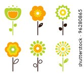 Set Of Retro Flower Elements...