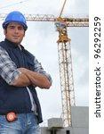 construction worker in front of ... | Shutterstock . vector #96292259