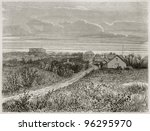 Small photo of Kanala old view from north-west, New Caledonia. Created by Moynet after photo by unknown author, published on Le Tour Du Monde, Paris, 1867