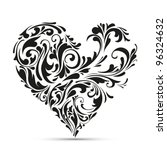 Abstract Floral Heart. Love...