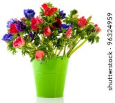 Bouquet Anemones In Blue And...