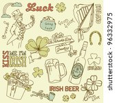 saint patrick's day doodles  ... | Shutterstock .eps vector #96332975