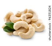 cashew nuts isolated on white... | Shutterstock . vector #96351824