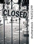 Closed Sign On Metal Doors