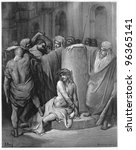 Small photo of Jesus Scourged - Picture from The Holy Scriptures, Old and New Testaments books collection published in 1885, Stuttgart-Germany. Drawings by Gustave Dore.