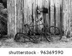 Rusty Old Bicycle And Wooden...