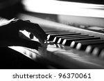 Hand Playing On Digital Piano....