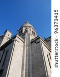The Basilica of Sacre Coeur on blue sky, Montmartre, Paris, France - stock photo